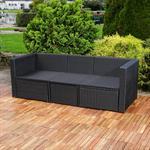 Polyrattan Garnitur Lounge Set Sitzmöbel schwarz Pic:4