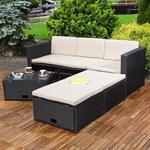 Polyrattan Garnitur Lounge Set Sitzmöbel schwarz Pic:7