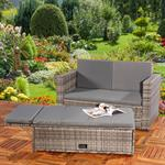 Polyrattan Gartensofa Lounge Sessel Grau Pic:1