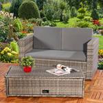 Polyrattan Gartensofa Lounge Sessel Grau Pic:2