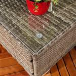 Polyrattan Gartenlounge Gartengarnitur Sofa Grau Pic:4