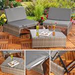 Polyrattan Sitzgruppe Sessel Tisch Grau