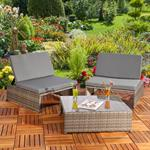Polyrattan Sitzgruppe Sessel Tisch Grau Pic:1