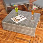 Polyrattan Sitzgruppe Sessel Tisch Grau Pic:2