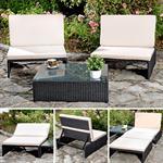 Polyrattan Sitzgruppe Sessel Tisch schwarz
