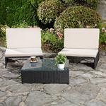 Polyrattan Sitzgruppe Sessel Tisch schwarz Pic:1