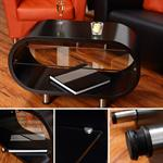 Cocktail Table Coffee Side Tables Glass-topped Table Designer Black Round Lounge