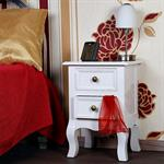 Country House Night Bedside Table Dresser Cabinet+Drawers White