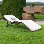 Rattan Lounger Sun Lounger Black/Brown Polyrattan Lounge Garden Lounger Pic:1