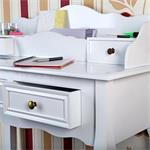 Country Secretary Bureau Escritoire Desk Antique White Table Vanity Shabby Chic Pic:4