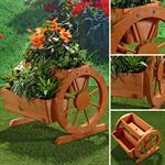Pflanzkübel mit Wagenrädern Blumenkübel aus Holz