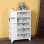 Country House Commode Dresser Drawer Shelf Chest + 5 Baskets Wood White