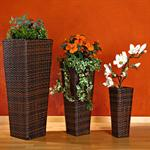 3 x Flower Pot Rattan Flower Tub Planter Plant Tub Polyrattan Set Vase Brown