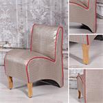 Mini Polster Sessel Stuhl - Silber / Rot
