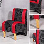 Mini Polster Sessel Stuhl - Schwarz  / Rot