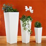 3 x Flower Pot Rattan Flower Tub Planter Plant Tub Polyrattan Set Vase White