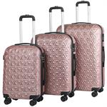 Go2Travel Hartschalen-Koffer 3er Set - Rose Gold