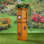 Garten Dekosäule mit Herzöffnung aus Edelrost Pic:2
