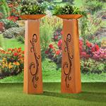 Garten Dekosäule mit Pflanzschale aus Edelrost Pic:1