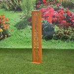 Garten Deko Ständer aus Edelrost - Wilkommen Pic:1