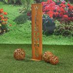 Garten Deko Ständer aus Edelrost - Wilkommen Pic:2