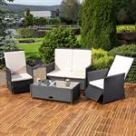 Rattan Sofa inkl. zwei Sesseln und Tisch - Schwarz Pic:1
