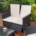 Rattan Sofa inkl. zwei Sesseln und Tisch - Schwarz Pic:2