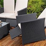 Rattan Sofa inkl. zwei Sesseln und Tisch - Schwarz Pic:3
