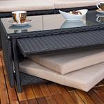 Rattan Sofa inkl. zwei Sesseln und Tisch - Schwarz Pic:4