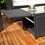 Rattan Sofa inkl. zwei Sesseln und Tisch - Schwarz Pic:5