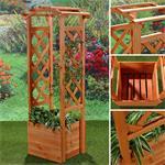 Blumenkübel aus Holz mit Rosenbogen