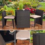 3tlg. Polyrattan Sitzgruppe Stühle + Tisch schwarz