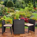 3tlg. Polyrattan Sitzgruppe Stühle + Tisch schwarz Pic:1