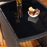 3tlg. Polyrattan Sitzgruppe Stühle + Tisch schwarz Pic:3