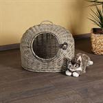 Cat Travel Basket Bed Kitten Pet Transport Carrier Willow Wicker Grey