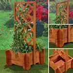 Blumenkübel mit Rankgitter Holz