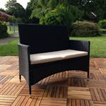 Rattan Garden Bench Black with Cushion Bench Polyrattan Seat Cushion Sofa