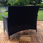 Rattan Garden Bench Black with Cushion Bench Polyrattan Seat Cushion Sofa Pic:1