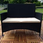 Rattan Garden Bench Black with Cushion Bench Polyrattan Seat Cushion Sofa Pic:2