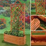 Ovaler Blumenkübel aus Holz inkl. Rankgitter