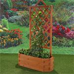 Ovaler Blumenkübel aus Holz inkl. Rankgitter Pic:1