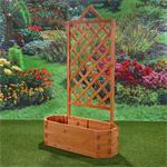 Ovaler Blumenkübel aus Holz inkl. Rankgitter Pic:5