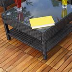 Rattan Eck Sofa Sitzecke Sitzgarnitur - Schwarz Pic:4