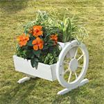Pflanzkübel mit Wagenrädern aus Holz - Weiß Pic:1