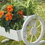 Pflanzkübel mit Wagenrädern aus Holz - Weiß Pic:2