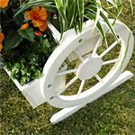 Pflanzkübel mit Wagenrädern aus Holz - Weiß Pic:3