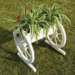 Pflanzkübel mit Wagenrädern aus Holz - Weiß Pic:4