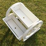 Pflanzkübel mit Wagenrädern aus Holz - Weiß Pic:5