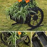 Pflanzkübel mit Wagenrädern aus Holz - Schwarz