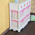 Kommode Sideboard inkl. 4 Körben weiß/rosa Pic:1